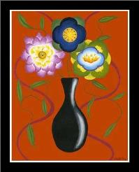 Stylized Flowers in Vase II art print poster with simple frame