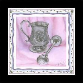 Heirloom Cup Rattle II art print poster with simple frame