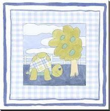 Turtle with Plaid (Pp) I art print poster with block mounting