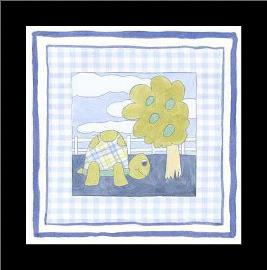 Turtle with Plaid (Pp) I art print poster with simple frame
