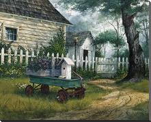 Antique Wagon art print poster with block mounting