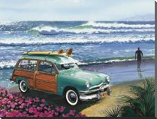 Surf City art print poster with block mounting