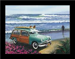 Surf City art print poster with simple frame