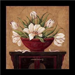 Zen Tulips art print poster with simple frame