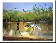 Jabiru Billabong art print poster with block mounting