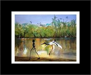 Jabiru Billabong art print poster with simple frame