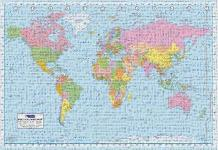 World Map art print poster transferred to canvas