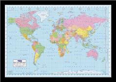 World Map art print poster with simple frame
