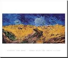 Crows Over The Wheat Field art print poster with block mounting