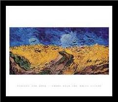 Crows Over The Wheat Field art print poster with simple frame