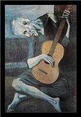 Old Guitarist art print poster with simple frame