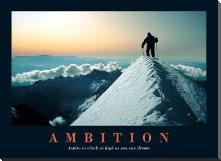 Ambition art print poster with block mounting