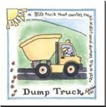 Dump Truck art print poster with block mounting