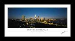 Perth Australia art print poster with simple frame