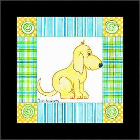 Pup Prints III art print poster with simple frame