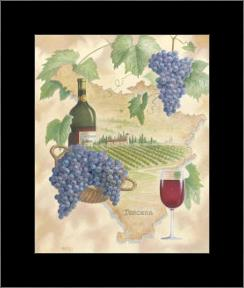 Toscana - Bella Vino art print poster with simple frame