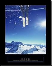 Risk - Ski art print poster with block mounting