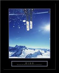 Risk - Ski art print poster with simple frame