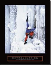 Determination - Ice Climber art print poster with block mounting