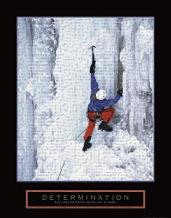 Determination - Ice Climber art print poster transferred to canvas