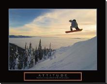 Attitude - Snow Boarder art print poster with block mounting