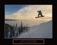 Attitude - Snow Boarder art print poster transferred to canvas