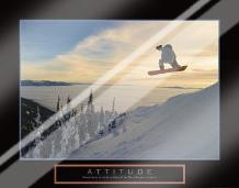 Attitude - Snow Boarder art print poster with laminate