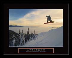 Attitude - Snow Boarder art print poster with simple frame