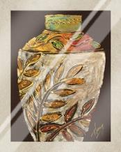 Sumach Leaf Pottery art print poster with laminate