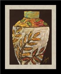 Sumach Leaf Pottery art print poster with simple frame