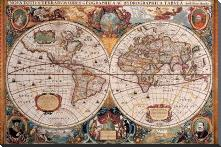 Antique Map - Geographica, Ca 1630 art print poster with block mounting
