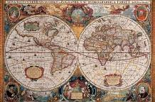 Antique Map - Geographica, Ca 1630 art print poster transferred to canvas