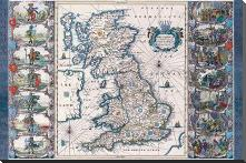 Antique Map - Britannia, Ca 1646 art print poster with block mounting