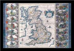Antique Map - Britannia, Ca 1646 art print poster with simple frame