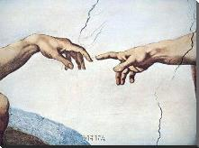 Hands Of God And Man art print poster with block mounting