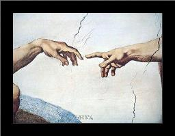 Hands Of God And Man art print poster with simple frame