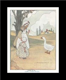 Goosey, Goosey, Gander art print poster with simple frame