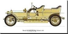 Rolls-Royce (Silver Ghost) 1907 art print poster with block mounting