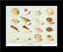 Variety Of Fancy Pastry art print poster with simple frame