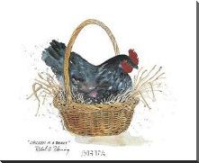 Chicken In A Basket art print poster with block mounting