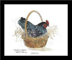 Chicken In A Basket art print poster with simple frame