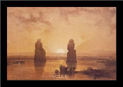 Statues Of Memnon At Thebes art print poster with simple frame