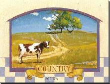 Country art print poster with block mounting