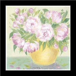 Yellow Vase Peonies I art print poster with simple frame