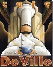 Cafe De Ville art print poster with block mounting
