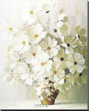 White Bouquet art print poster with block mounting