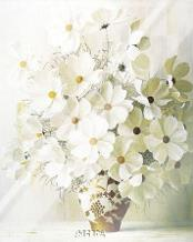 White Bouquet art print poster with laminate