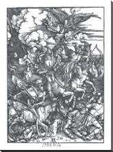Four Horsemen Of The Apocalypse art print poster with block mounting
