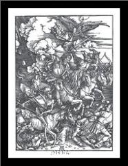Four Horsemen Of The Apocalypse art print poster with simple frame