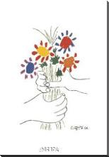 Bouquet With Hands art print poster with block mounting